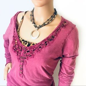 Free People Tops - Free People Scoop Neck Embroidered Henley Top